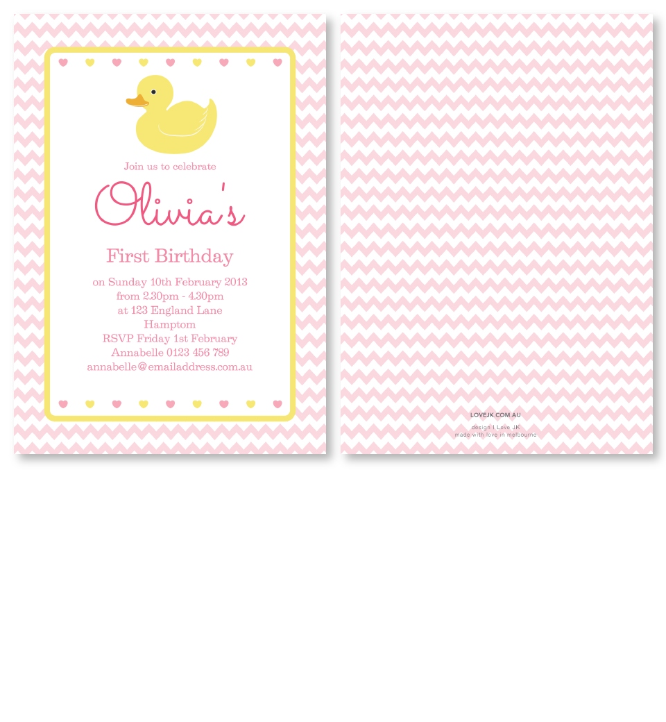 Pink Rubber Ducky Birthday Invitation | Love JK