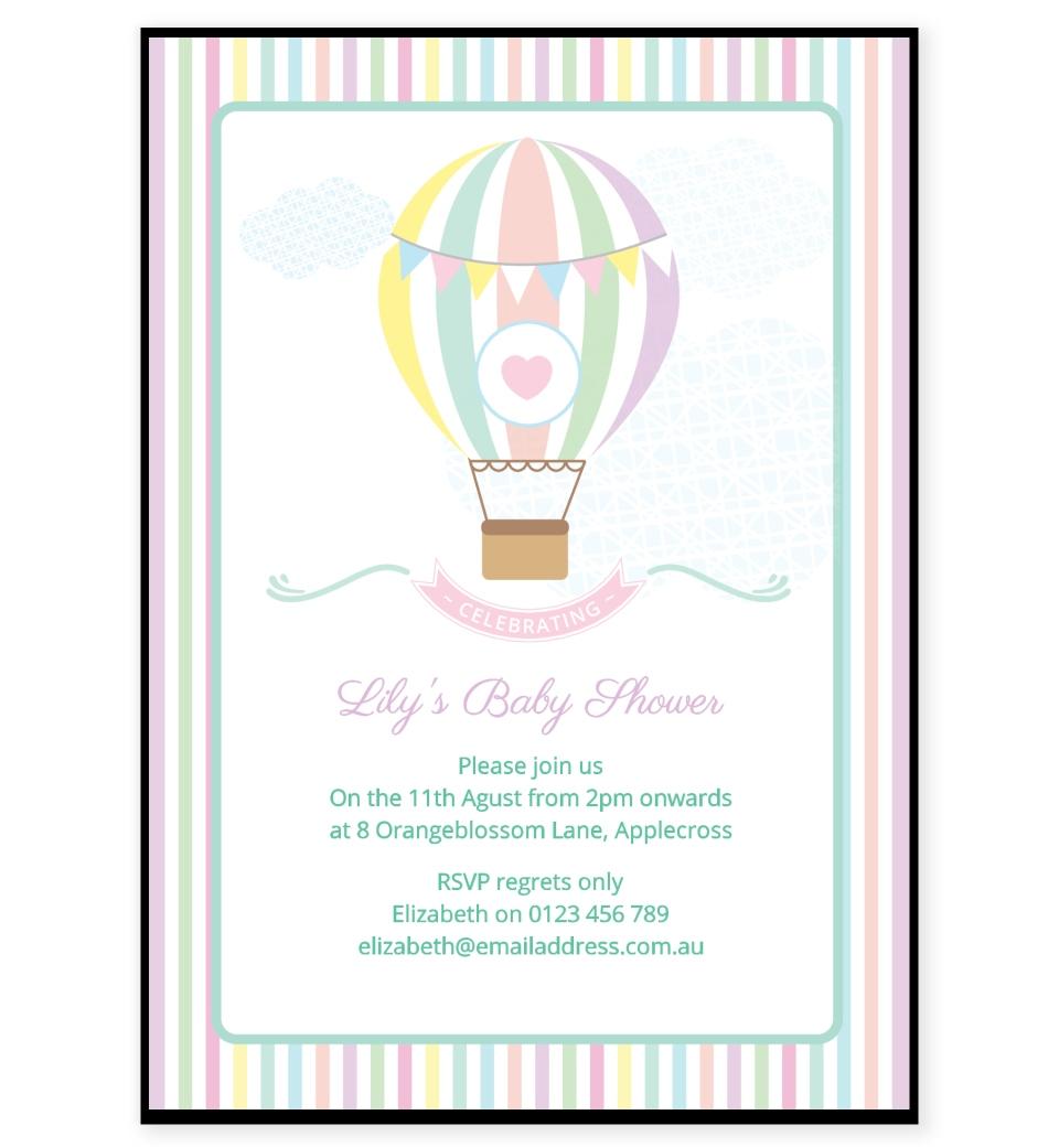 Pastel Hot Air Balloon Baby Shower Invitation Love Jk