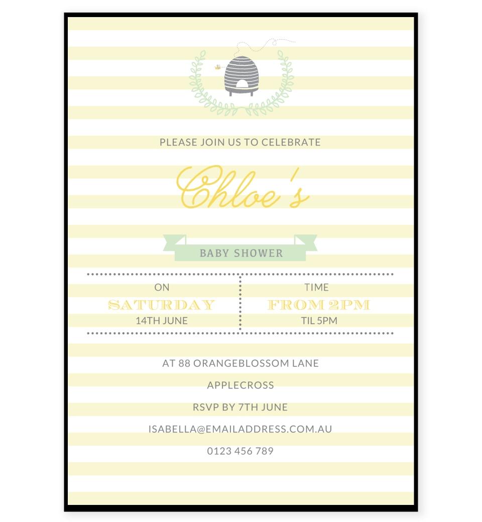 Bumble Bee Baby Shower Invitation | Love JK