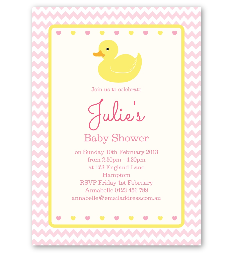 Pink Rubber Ducky Baby Shower Invitation. Front
