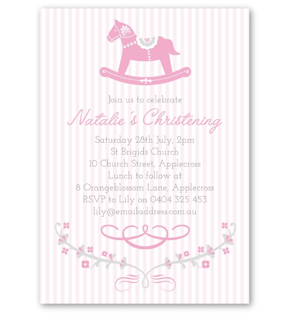 Pink Rocking Horse Christening & Baptism Invitation | Love JK