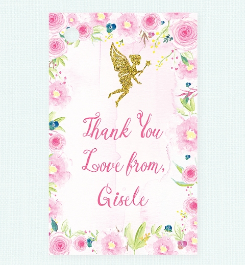 Floral Fairy Party Thank-you Tag