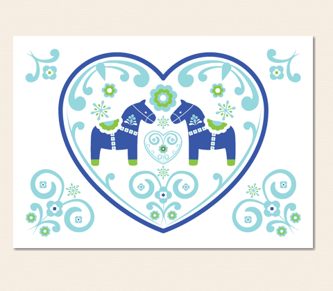 Lovey Dovey Dalas Greeting Card ~ Navy & Apple Green