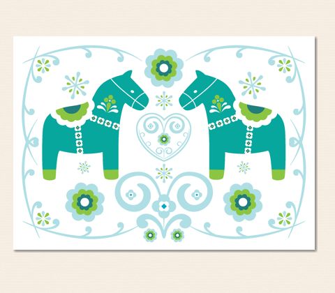 Two Dala Horses Greeting Card ~ Turquoise & Apple Green