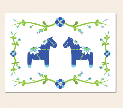 Dala Horses In The Garden Greeting Card ~ Blue