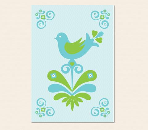 Nordic Folk Bird Greeting Card