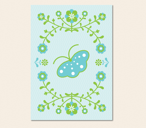 Nordic Folk Butterfly Greeting Card