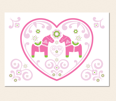 Lovey Dovey Dalas Greeting Card ~ Lolly Pink & Apple Green