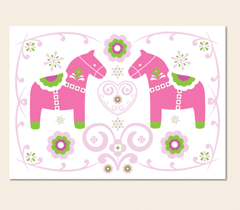 Two Dala Horses Greeting Card ~ Lolly Pink & Apple Green