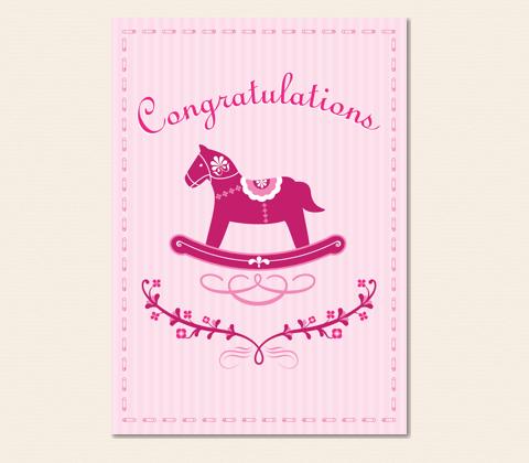 Rocking Horse Baby Girl Greeting Card