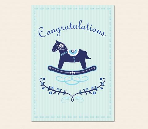 Rocking Horse Baby Boy Greeting Card