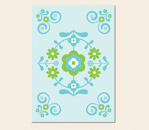 Nordic Folk Floral Greeting Card