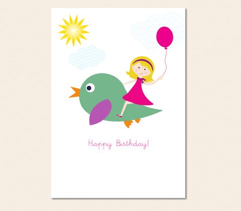 Flying Birthday Girl Card