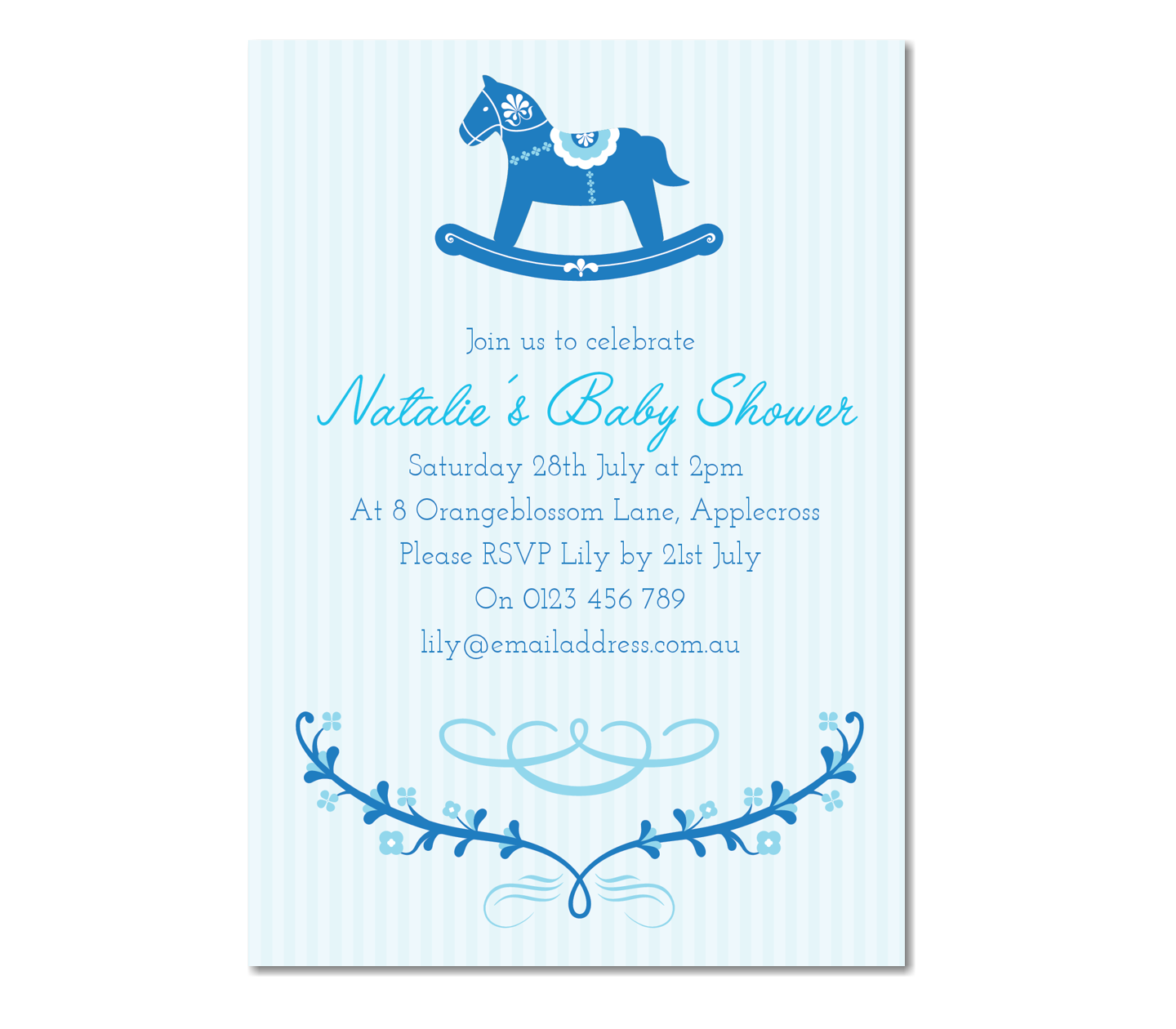 Personalised Rocking Horse Baby Shower Invitation ~ Baby Boy