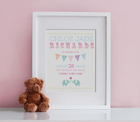 Little Elephants Birth Print - Pastel