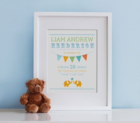 Little Elephants Birth Print - Spring Brights