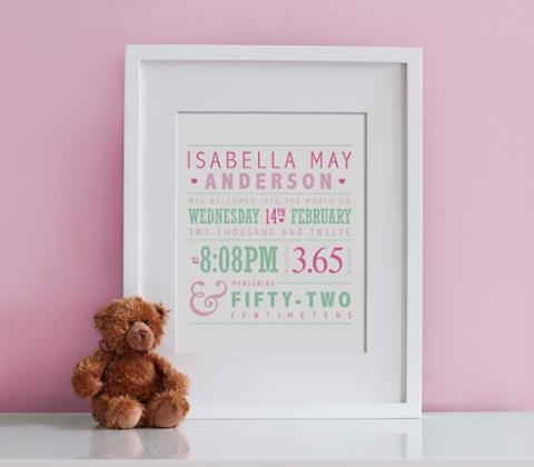 Typographic Birth Print - Pink & Mint
