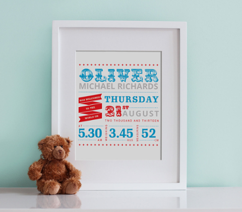 Vintage Typographic Birth Print - Boy