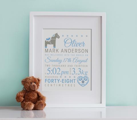Dala Horse Birth Print - Baby Blue & Taupe