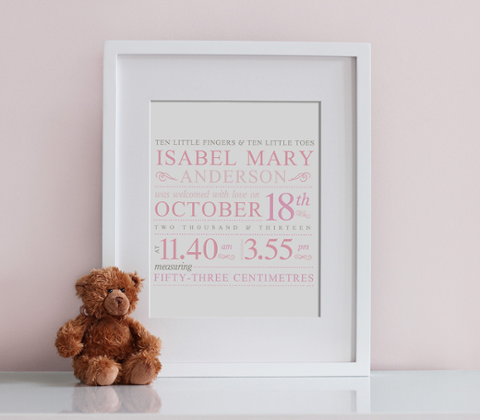 Fleuron Typographic Birth Print - Baby Pink & Taupe