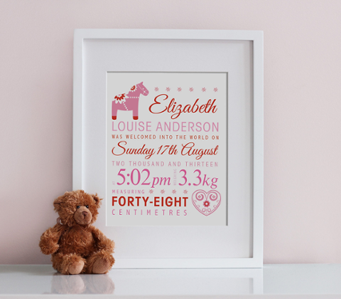 Dala Horse Birth Print - Pink & Red