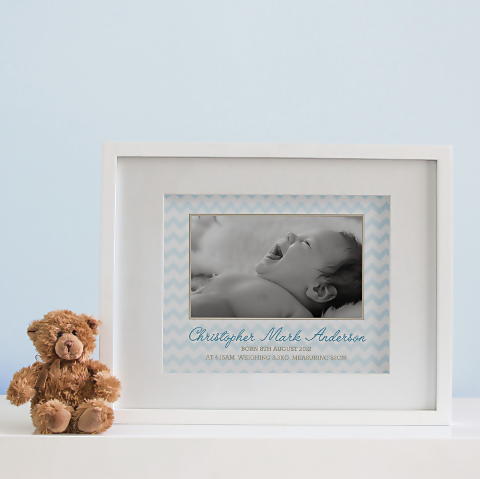 Chevron Photo Birth Print - Baby Boy