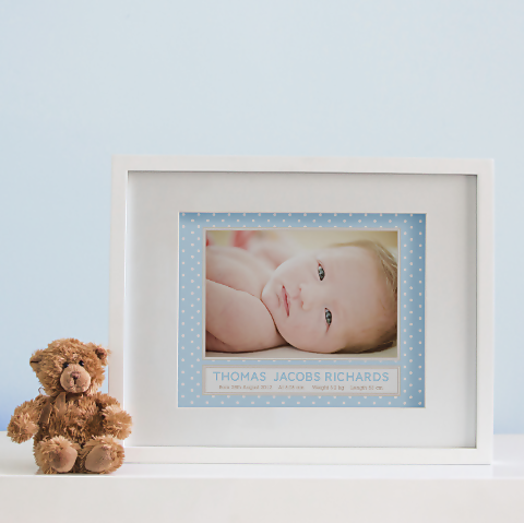 Polka Dot Photo Birth Print - Baby Boy