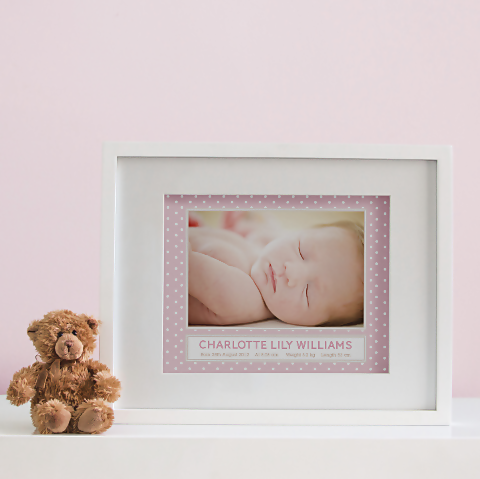 Polka Dot Photo Birth Print - Baby Girl