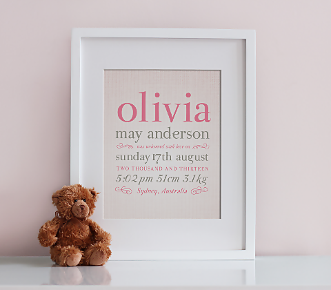 Linen Typographic Birth Print - Pink & Taupe