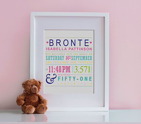 Typographic Birth Print - Summer Colours
