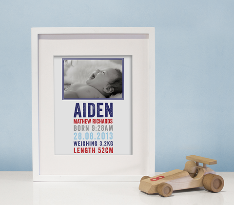 Letterpress Photo Birth Print ~ Navy & Red