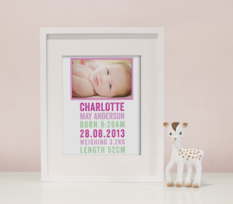 Letterpress Photo Birth Print ~ Pink & Mint