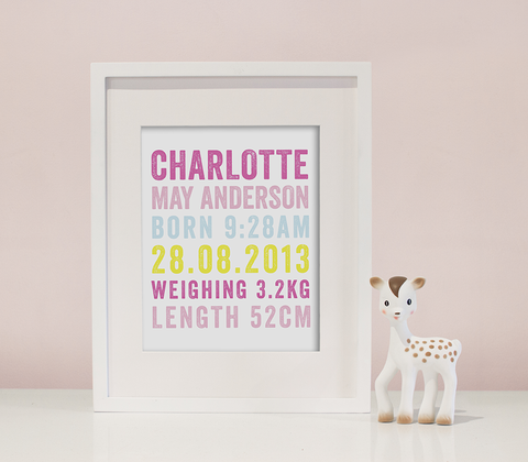 Letterpress Birth Print in Gelato Pastels
