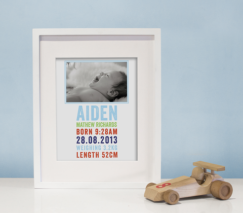 Letterpress Photo Birth Print ~ Modern Boy