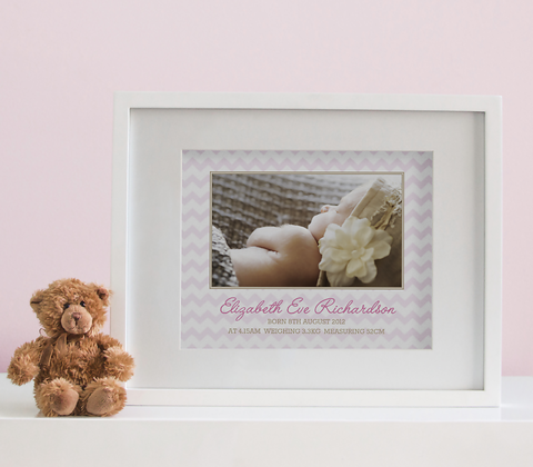 Chevron Photo Birth Print - Baby Girl