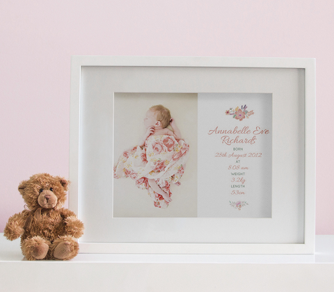 Floral Photo Birth Print - Baby Girl