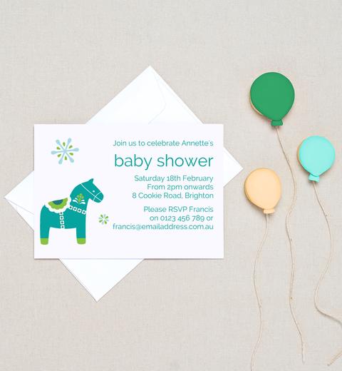 dala horse baby shower invitations turquoise apple green