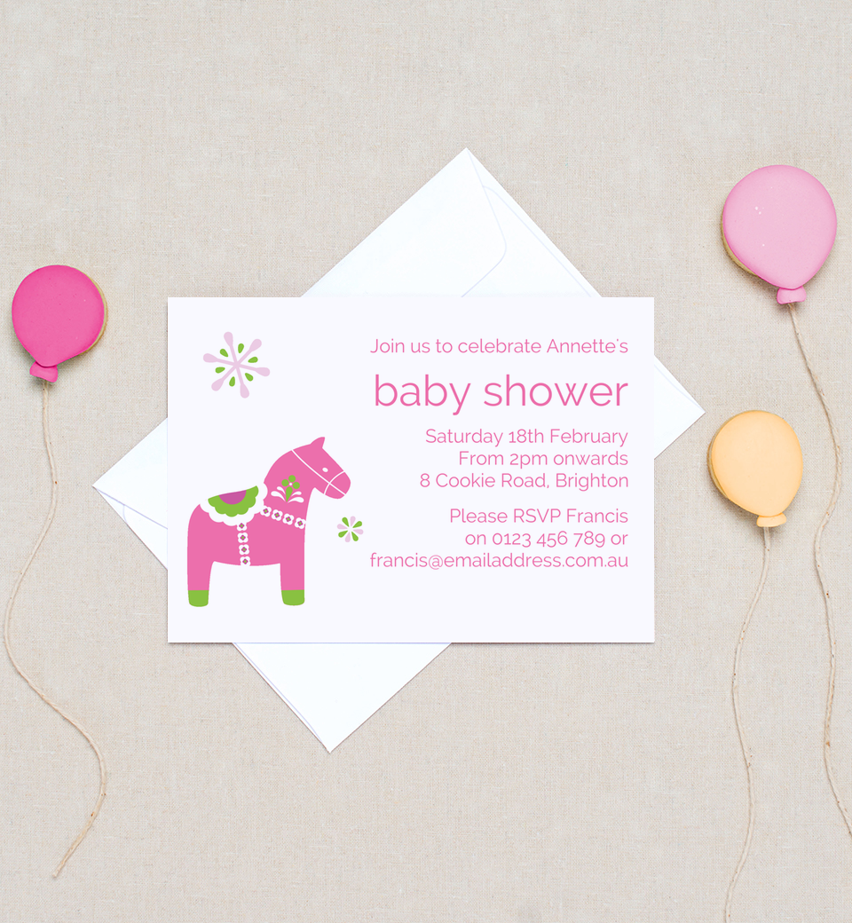 Baby Shower Lollies ~ Dala horse baby shower invitations lolly pink