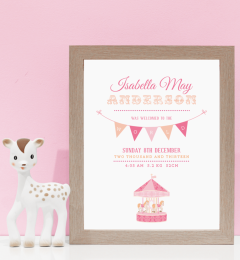 Carousel Birth Print