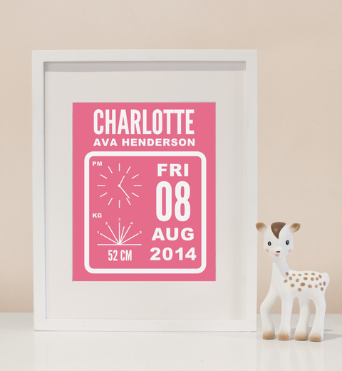 Flip Clock Birth Print In Pink