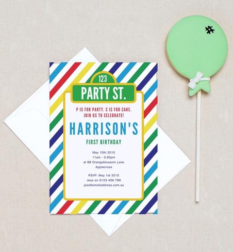 Party St. Birthday Invitations