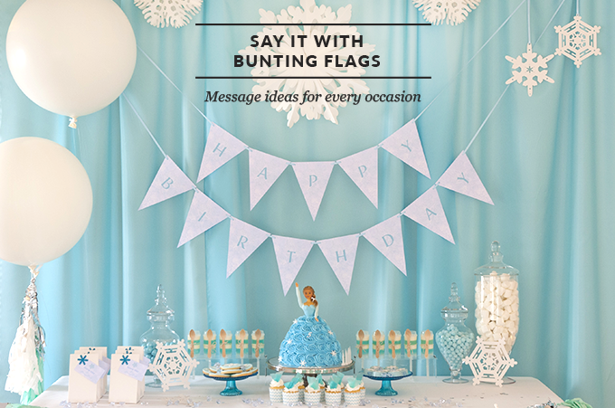 Frozen Bunting Flags - Happy Birthday