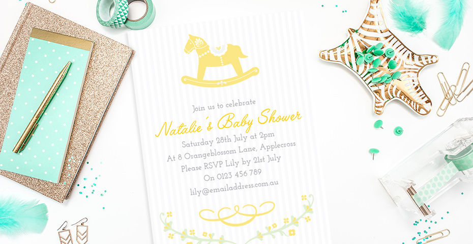 Yellow Rocking Horse Gender Reveal Baby Shower Invitation