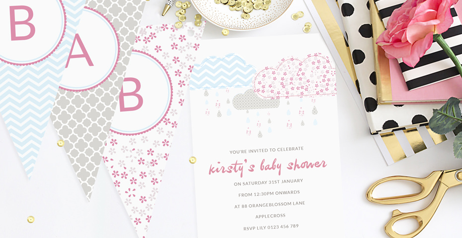 Its Raining Baby Shower Invitations and Bunting
