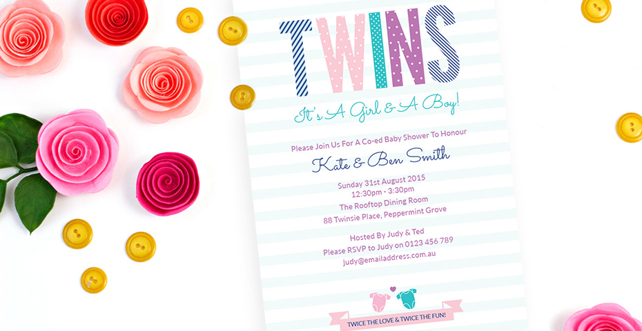 Twins Baby Shower Invitation