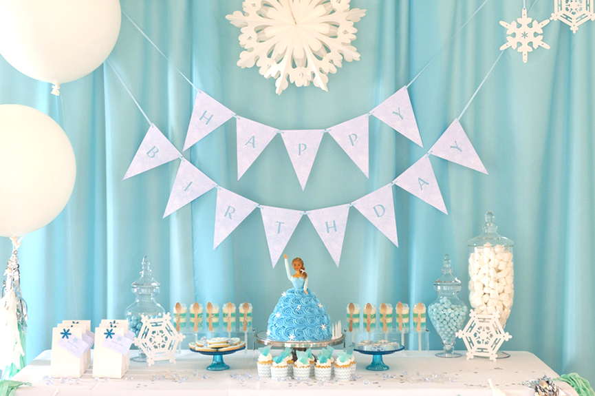 Frozen Birthday Bunting Flags